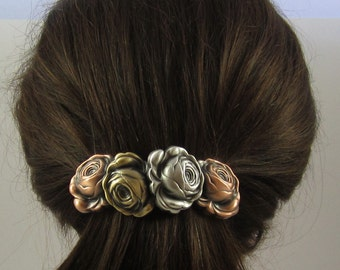 Roses French Barrette- Gifts for Gardeners- 80MM Barrette Clip
