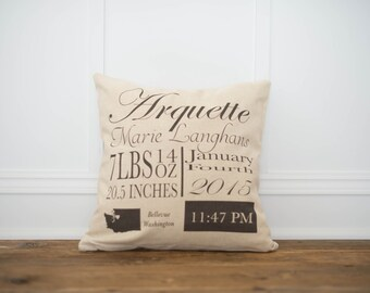 Fancy Birth Annoucenemt Pillow Cover - Birth Stat Pillow