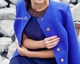 Blue coat , felt coat, wool coat, coat handmade merino coat, soft coat, fashion, coat spring coat, the coat with buttons