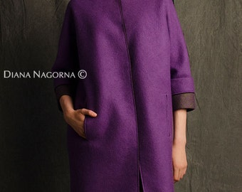 Light spring coat, felted coat ,lilac color ,coats for women , free silhouette,wool coat, handmade merino coat, fashion coat , luxury item