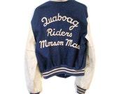 50s Letterman Jacket M/L, Biker Racing Jacket, Vintage Motorcycle Club Varsity Sports Wool Leather Coat, Quaboag Riders Monson MA