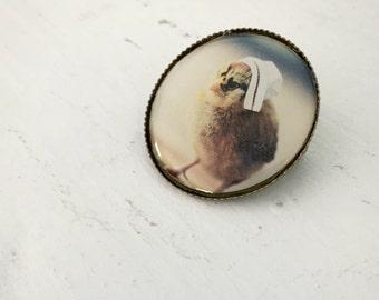 Chicken in  A Vintage Miniature Nursing Cap Chicks in Hats Pin Nurse Brooch