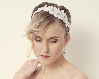 Lace headband, Ivory Bridal headband, Flower headband, Wedding headband, Wedding hair accessories
