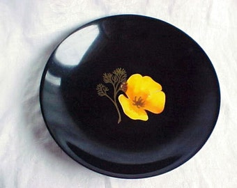 1950s Couroc Bowl with Yellow California Poppy Flower - Mid Century Phenolic Hard Plastic - Vintage Outdoor Dining - Serve in Style