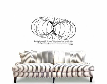 Science art Plato remarkable quote on geometry plus a pulsar magnetic fields vinyl decal for your classroom scientific decor (ID: 121073)