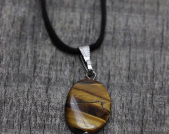 necklace , suede strap ,Stone  Necklace , Bohemian Jewelry -Tribal jewelry Adjustable Size ( suede strap)