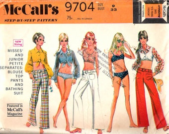 Vintage 1969 McCall's 9704 Separates Blouse, Top, Pants & Bathing Suit Sewing Pattern Size 9 Bust 33""