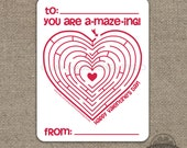 Printable Valentine Card - Kids Valentine Card - Kids Valentines - Heart Maze - Instant Download - Printable Valentine Card - Valentines Day