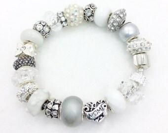 White Mom European Style Charm Bracelet