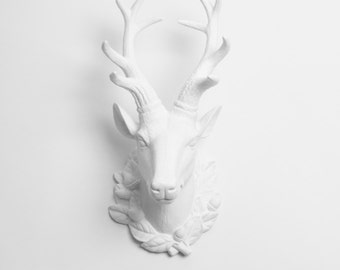 The Millie - Large White Resin Deer Head w/Filigree- White Deer Antlers Mounted - Faux Deer Head - Faux Taxidermy