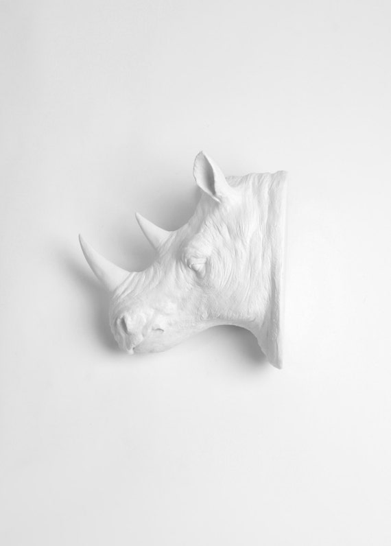 OVERSTOCK SALE - The Denver by White Faux Taxidermy | Large White Rhino Head