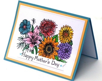 Mothers day card, flower garden, floral blank card for mom, multicolored lily, sunflower