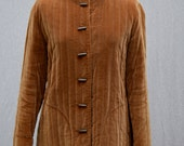70s Velvet Chinese Quilted Jacket with toggles, amber, autumn, m/l