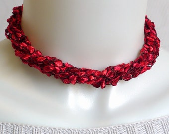 Red Ladder Yarn Necklace, Fiber Necklaces, Red Ribbon Necklace, Crochet Choker, Lariat Necklace, Gifts for Her, Handmade in the USA