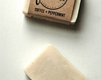 Coffee + Peppermint. Palm-Free Soap. Cold Process Soap. Vegan Soap. 100% Natural.