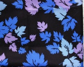 Vintage fabric 4.27 yards in 1 listing leaves black blue lilac white floral hippie gipsy boho