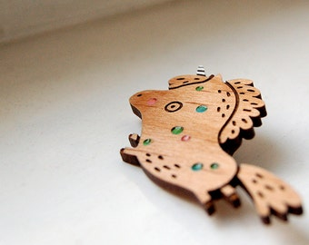 Party Unicorn - wooden brooch