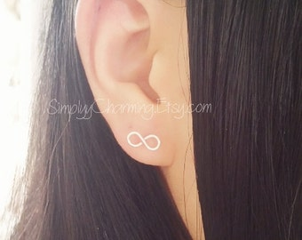 Tiny Infinity Wire Lobe Earring - Sterling Silver/14K Gold Filled (A Pair)