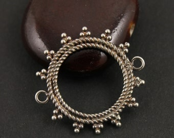 Bali Sterling Silver, Small Circle Charm w/ Granulated Tribal Details Around Edges, 2 Bails on Opposite Sides, Sold Individually (BA2030)