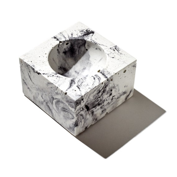 MICRO ORB Marbleized Concrete Bowl / Mens ring holder/ Women's Ring Holder/ Ring Bowl/ Jewelry Holder