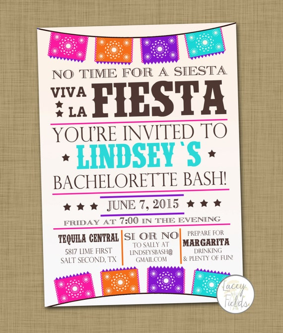 fiesta bachelorette party invitation printable mexican, Party invitations