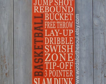 Basketball Typography Word Art Sports Wood Sign Nursery Wooden Typography Subway Sign