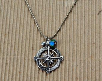 Compass Rose Boho Necklace Silver Map Directions FREE Shipping Bohemian Chic Travel Wanderlust Pendant Fashion Jewelry Paisley Beading
