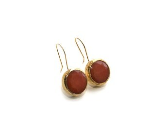 Gold Plated Framed Round Orange Jade Stone Earrings