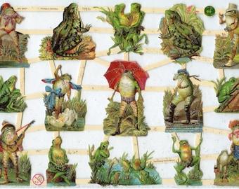 Frog SCRAP RELIEFS, Frog Die Cuts, Paper Frogs, Silly Frogs, Scrap Reliefs, Die Cuts, Victorian Die Cuts, Frogs, Victorian Frogs