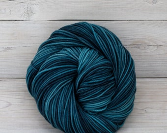 Calypso - Hand Dyed Superwash Merino Wool DK Light Worsted Yarn - Colorway: Techno