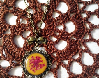 retro necklace - resin jewelry with pressed flower - moustard yellow vintage nature inspired antiqued necklace with real flower and cute bow