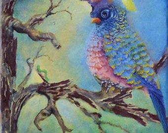 Original Acrylic Bird Painting of a Fantasy Bird on Canvas