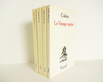 Four (4) VIntage French Books by Colette in Red, White, and Black