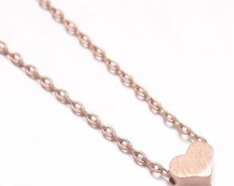 """Tiny Rose Gold """"Heart Me"""" Necklace - Dainty, Simple, Birthday Gift, Wedding Bridesmaid Gift"""