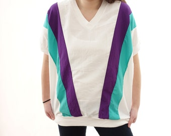 Vintage 80s / 90s White Purple and Green Striped Shirt -100% Cotton - Made in USA