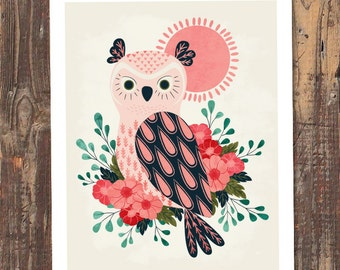 Owl and Blossoms Art Print