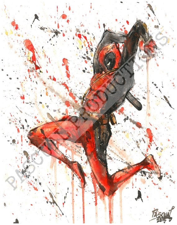 deadpool superhero marvel comics painting by
