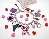 Pink kitty charm bracelet - as seen in Seventeen Magazine - sparkly pink cat charm bracelet - kawaii, cute, harajuku girl