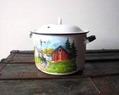 Large Enamelware Pot  with Lid  Vintage Amish Pot Hand Painted Enamelware Pot