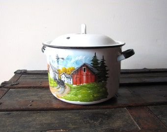 Large Enamelware Pot  with Lid  Vintage Amish Pot Hand Painted Enamelware Pot