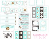 Milk and Cookies Birthday Party Kit - First Birthday Party Package - Printable Banner, Cupcake Toppers, Invitation, Labels, Favors, Sign