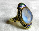 Reserved for D, 3rd of 3 pymts Moonstone Ring Rare Moonstone Intaglio Enamel Cape Cod Estate Art Nouveau Antique Ring 14K Seed Pearl 1890