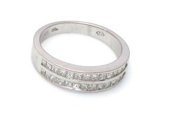 18K White Gold Channel Set Princess Cut Diamond Wedding Band - Size 7