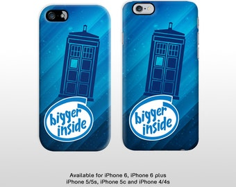 iPhone 6s iPhone 6 plus Doctor Who Tardis cell phone case. Featuring 'Bigger inside' phrase phone cover iPhone 5 5c 4 FP167