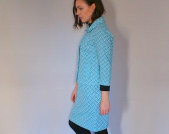 Vintage Blue Patterned Crimplene Suit
