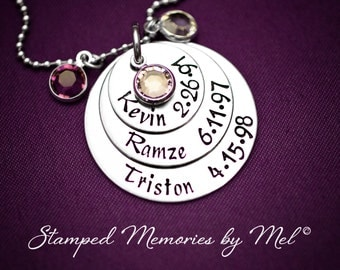 Mommy Necklace - Three Layered Hand Stamped Pendant - Birthstones and Kids' Names & Birthdays - Personalized Jewelry - Mother's Day Gift
