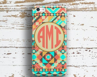Monogram Iphone 6 + case, Tribal Iphone 5c case, Aztec iPhone 5 case, Girls iPhone 4 case Cute tech accessory Mint coral southwestern (1272P
