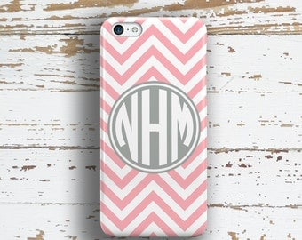 Monogram iphone SE case, Chevron Iphone 5c case, Preppy iPhone 5 case, Pink iPhone 5s case, Durable Iphone case, Pink white gray ( 9764)