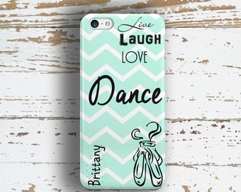 Gift for dancer, Dance Iphone 5s case, Ballet iPhone 5c case, Tween daughters gift, Live Laugh Love Dance, Light blue chevron (1327)