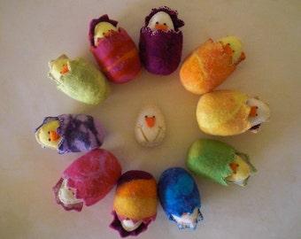 Felted Easter Egg with baby chick, Felt Easter Egg, Easter Egg decoration